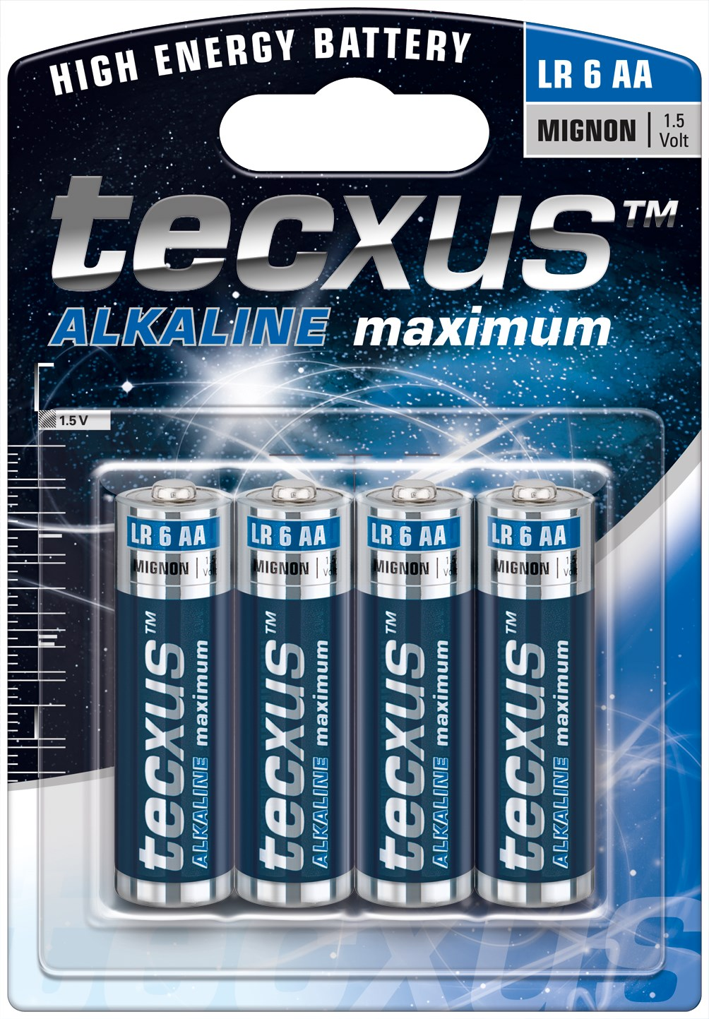 Image of   Alkaline Batteri AA, 4-pak, tecxus ALKALINE maximum